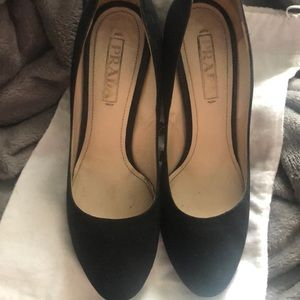 Prada black suede heels size 37.5